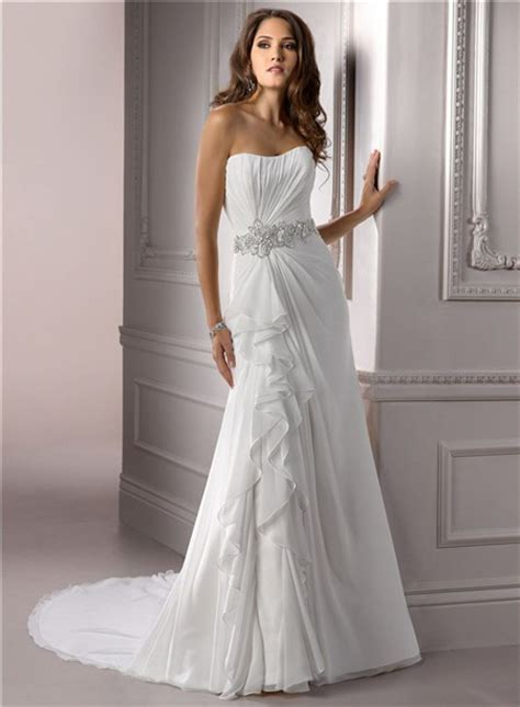 a line strapless ruched chiffon wedding dress with