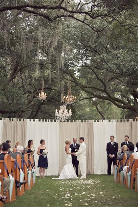 backyard wedding setup ideas outdoor ceremony ideas wedding ceremony photos by ooh events image 1 of 47