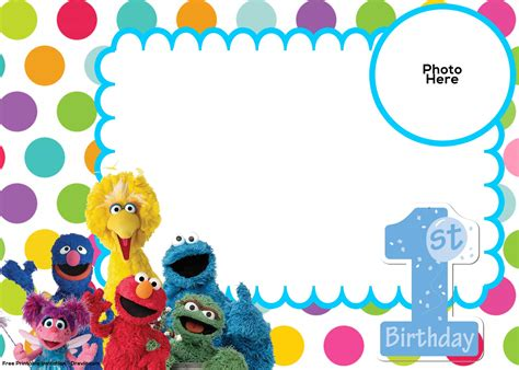 sesame birthday card template free sesame 1st birthday invitation template free