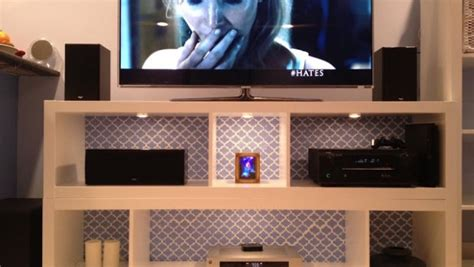 ikea media center hack expedit bookshelves to fabulous tv stand ikea hackers