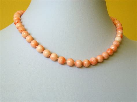 pink coral bead necklace genuine vintage pink coral necklace 8mm 16