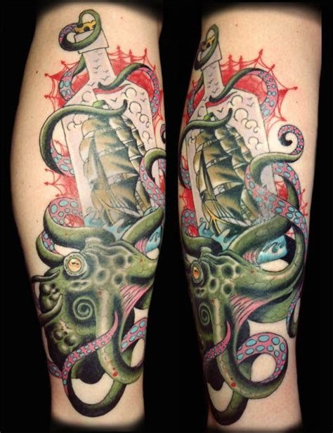 traditional octopus tattoo majestic ship tattoos d s tattoos bottle