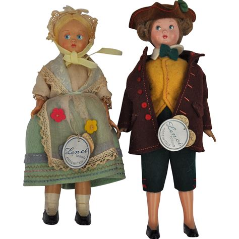 lenci dolls uk a pair of lenci plastic dolls with felt costumes and