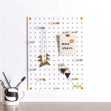 White Pegboard With Wooden Pegs Small By Block Design | white pegboard with wooden pegs small by block design
