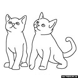 Two Cats Outline by Two Kittens Coloring Page