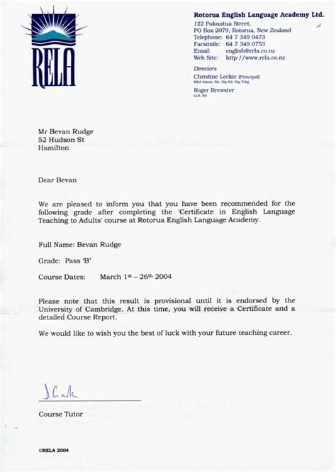 Recommendation Letter New Zealand Reference Letter Sle New Zealand Cover Letter Templates