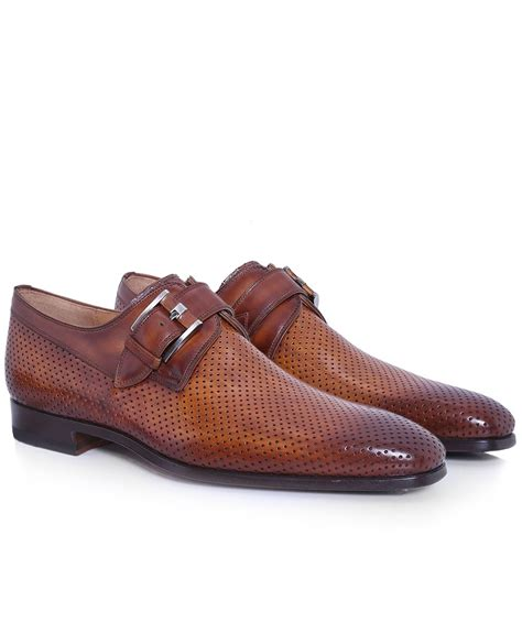 light brown monk shoes magnanni light brown perforated leather monk shoes
