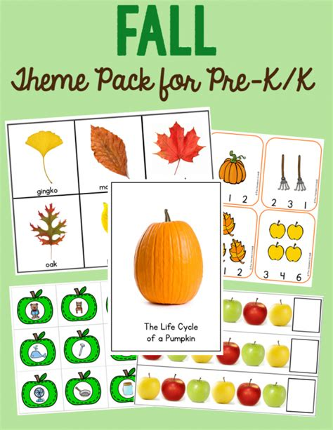why use themes in kindergarten new pumpkin leaf and apple theme pack the measured mom