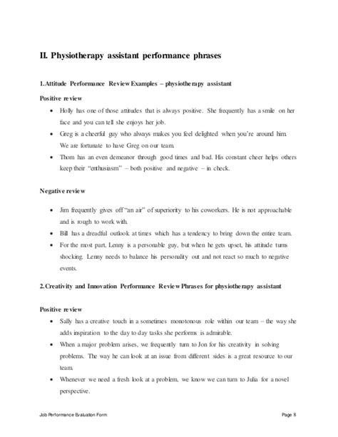 Resume Samples Kitchen Helper by Physiotherapy Assistant Perfomance Appraisal 2