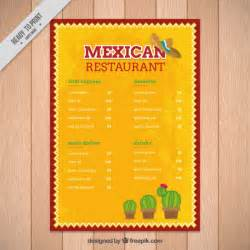 mexican menu template free yellow mexican menu template with cactus vector free