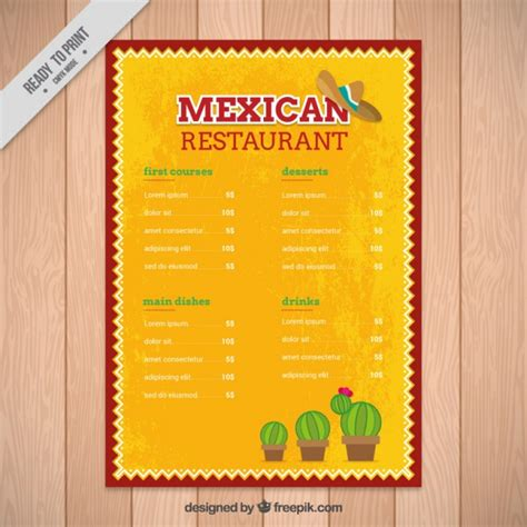 mexican food menu template yellow mexican menu template with cactus vector free