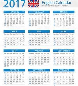 Calendario 2018 En Ingles Ingl 233 S Calendario De 2017 Illustracion Libre De Derechos