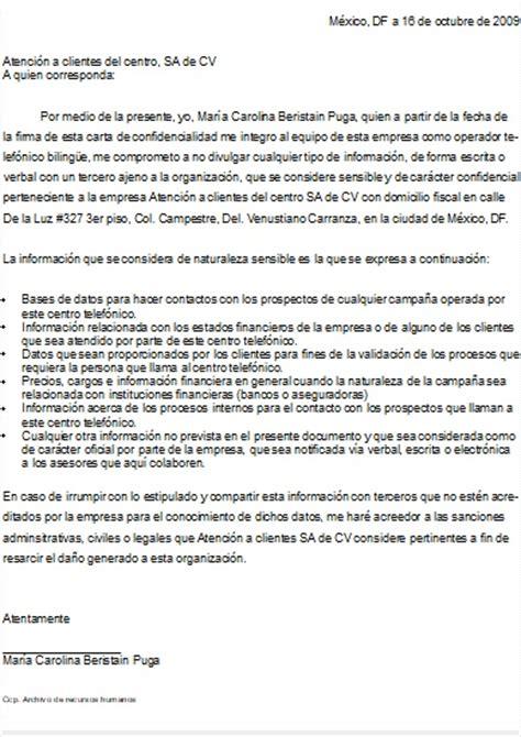 formato de carta de responsabilidad y confidencialidad carta de confidencialidad gt formatos y ejemplos