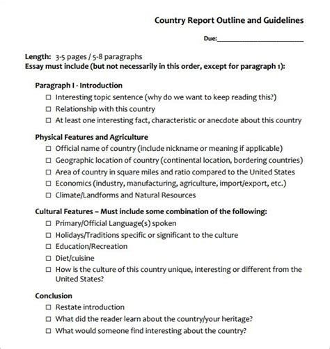 report outline template 10 free sle exle format