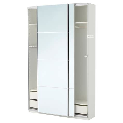 kleiderschrank 120 hoch pax wardrobe white auli mirror glass 150x44x236 cm ikea
