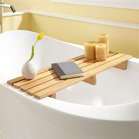Reading In The Tub In The Bookcase by Chasse Bamboo Tub Shelf Bathroom