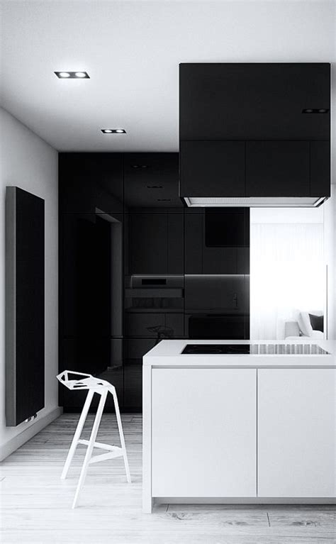 minimalist kitchen black  white kitchen cutout