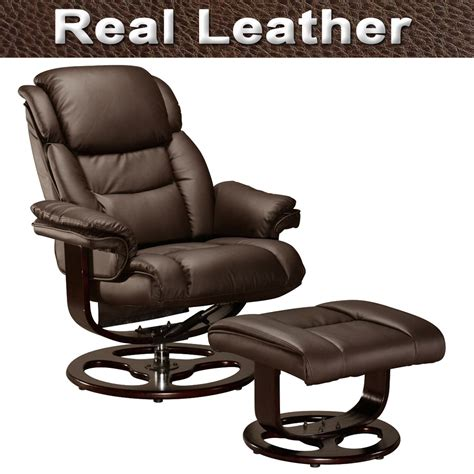 Vienna Real Leather Swivel Recliner Chair W Foot Stool Real Leather Recliner Swivel Chairs