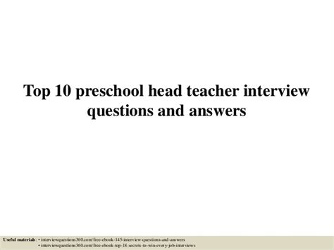 top 10 preschool questions and answers