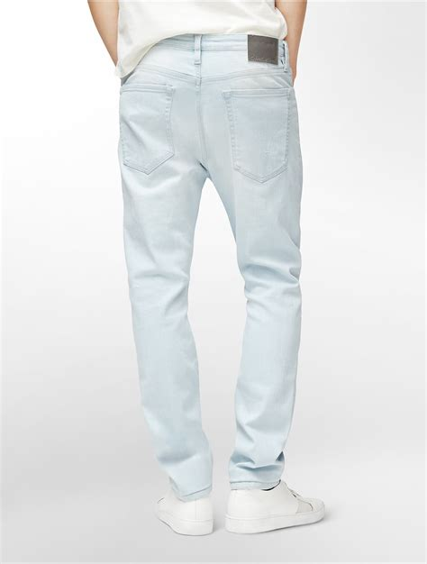 light blue wash jeans mens lyst calvin klein jeans cameron slim tapered leg light