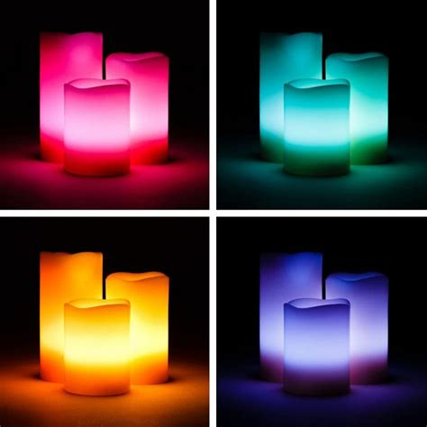 buy set of 3 scented colour changing led candles with