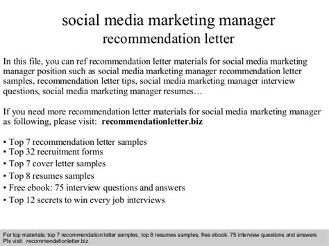 Marketing Manager Working Conditions by Social Media Marketing Manager Recommendation Letter