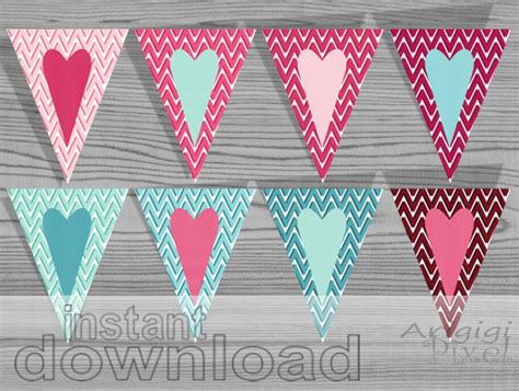 free printable heart banner valentine printables hearts banners pink blue chevron