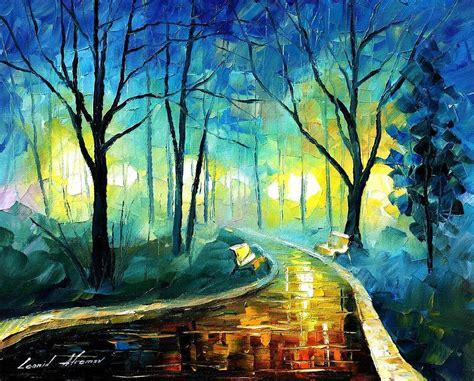 Landscape Artwork Canvas Blue Fog Palette Knife Landscape Park Painting On