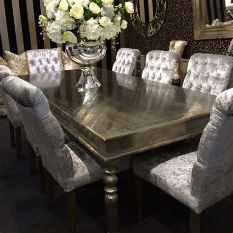 Mirrored Dining Room Set Crushed Velvet Roll Top Buttoned Dining Chairs Fabric