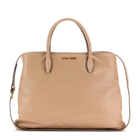 Miu Miu Washed Leather Tote by Miu Miu Leather Tote In Lyst