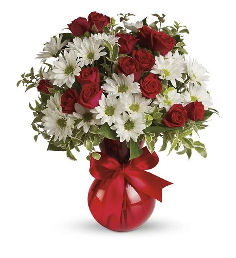You Put The Flowers In The Vase Red White And You Bouquet By Teleflora Tev23 2a 38 66