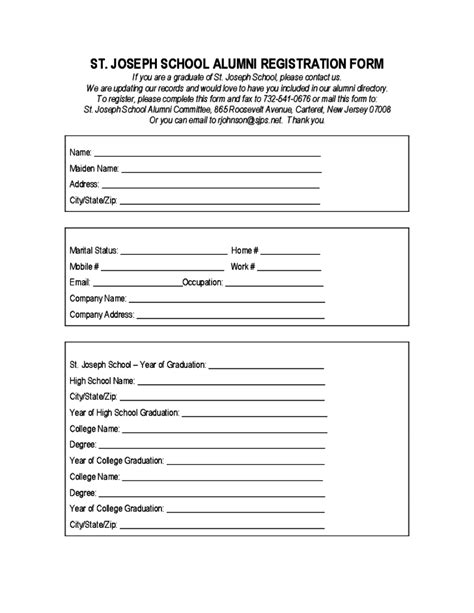 class registration template st joseph school alumni registration form free