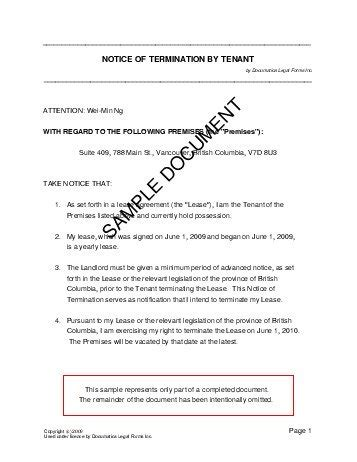 termination letter template ontario notice of termination by tenant canada templates