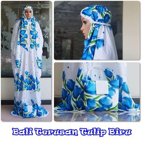 Mukena Bali Standar Tulip jual mukena bali terusan tulip biru motif cantik harga murah