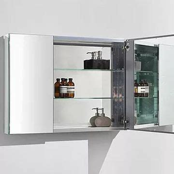ava bathroom furniture mirror cabinet 2 door w glass shelves hinges alu