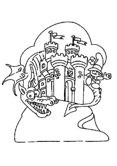 Coloriage dragon chateau sur Hugolescargot.com