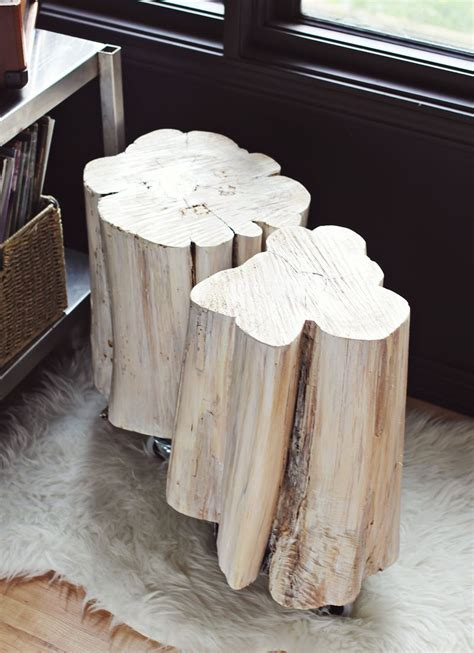 diy tree stump side tables  beautiful mess