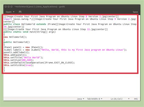 java programming program how to create your first java program on ubuntu linux
