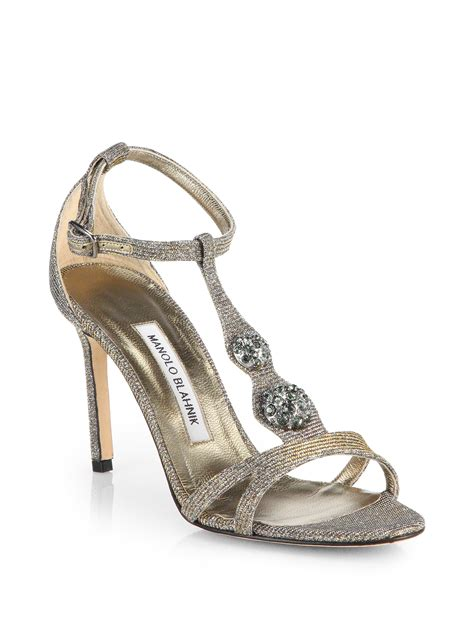 manolo blahnik sandals lyst manolo blahnik dixie metallic t sandals in