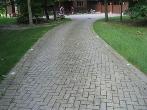 brick driveways with grass