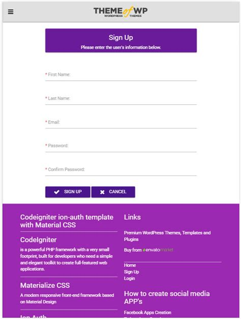 Codeigniter Ion Auth Template With Material Design For Bootstrap Codeigniter Dashboard Template Free