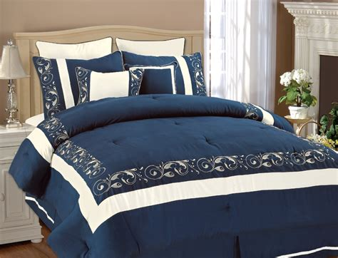 navy and white comforter set 8pcs queen shilo navy white embroidered comforter set ebay