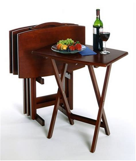 Dinner Tray Tables by Buy Low Price Set Of 4 Solid Wood Tv Dinner Tray Tables