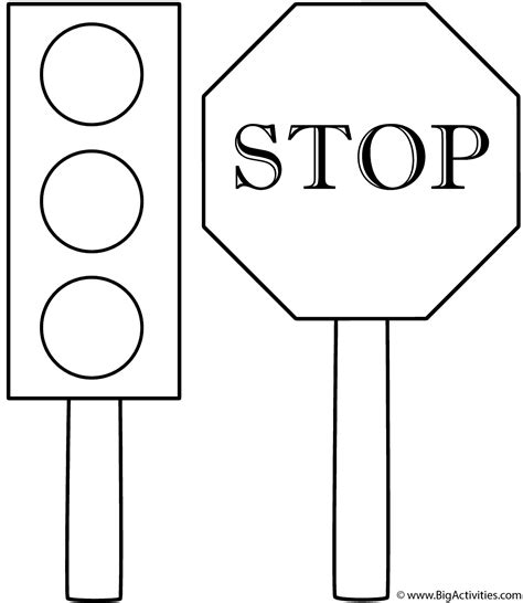 traffic light and stop sign coloring page safety