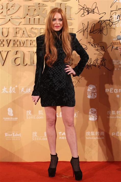 Style Stealer Lindsay Lohans Blue Dress by Who Wore Balmain Better Lala Anthony Or Lindsay Lohan