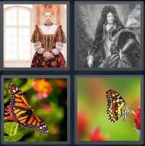 4 pics 1 word answer for queen king butterfly pollinate