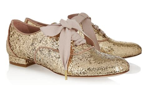 Gold Flat Shoes For Wedding by Gold Sparkle Wedding Shoes Flat Laceups Onewed