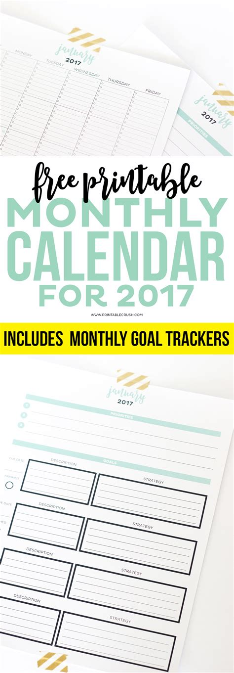 printable calendar room for notes 2017 simple printable calendar and goal planner