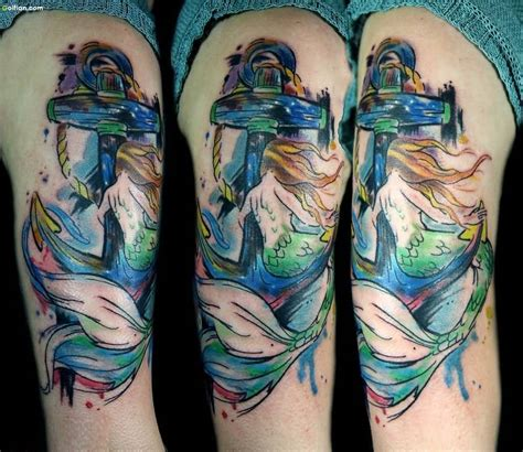 mermaid and anchor tattoo designs 35 most beautiful anchor mermaid tattoos lovely mermaid