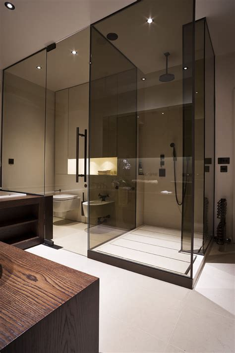 minimalist bathroom design interior ideas contemporary colored glass panels contemporary residential interior